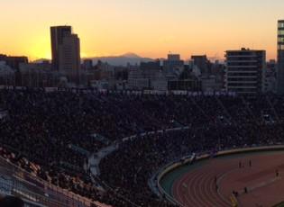 国立競技場バックスタンド上段から奇麗な富士が見れた